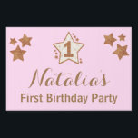 "First Birthday Pink and Gold Star Yard Sign<br><div class=""desc"">A fun sparkly design for your one year old girl.  Check out our entire &quot;Twinkle Twinkle Little Star&quot; pink and gold first birthday collection!</div>"