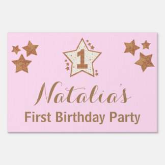 First Birthday Pink and Gold Star Yard Sign