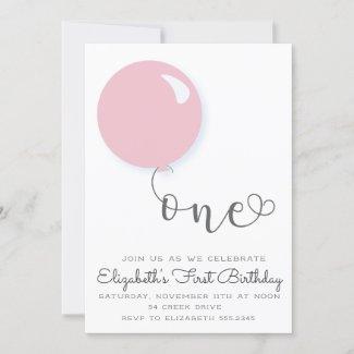 First Birthday Pink Balloon Invitation