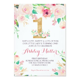 First  birthday pink Beautiful Floral Invitation, Invitation