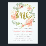 "First Birthday Pink Gold Floral Wreath Invitation<br><div class=""desc"">Matching Pink Gold Floral Wreath girl first birthday collection in the Little Bayleigh Store!</div>"