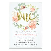 First Birthday Pink Gold Floral Wreath Invitation