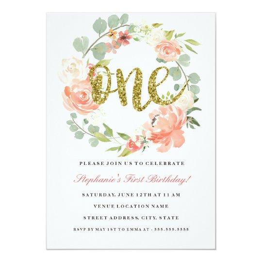 First Birthday Pink Gold Floral Wreath Invitation Zazzle Com
