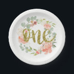 "First Birthday Pink Gold Floral Wreath Paper Plate<br><div class=""desc"">Matching Pink Gold Floral Wreath girl first birthday collection in the Little Bayleigh Store!</div>"