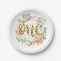 First Birthday Pink Gold Floral Wreath Paper Plate