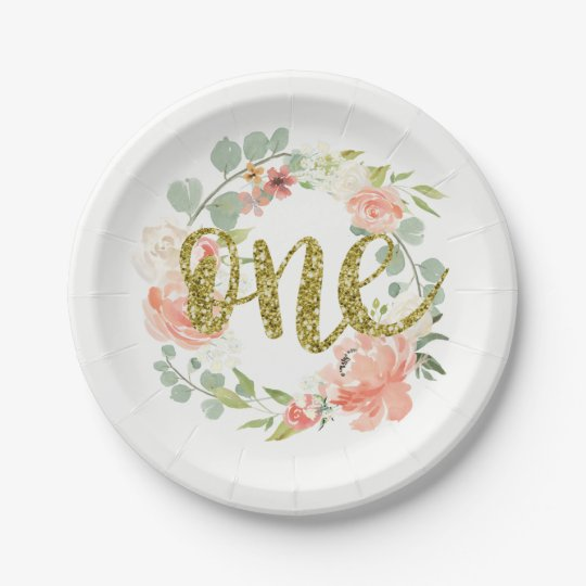 first birthday pink gold floral wreath paper plate. Black Bedroom Furniture Sets. Home Design Ideas