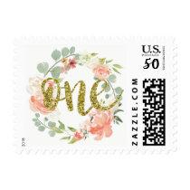 First Birthday Pink Gold Floral Wreath Stamp