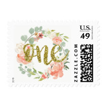 First Birthday Pink Gold Floral Wreath Stamp