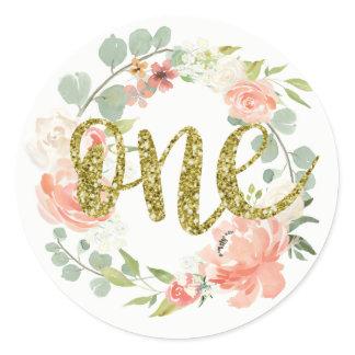 First Birthday Pink Gold Floral Wreath Sticker