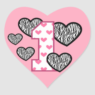 First Birthday PINK HEART NUMBER ZEBRA HEARTS V05F Heart Sticker