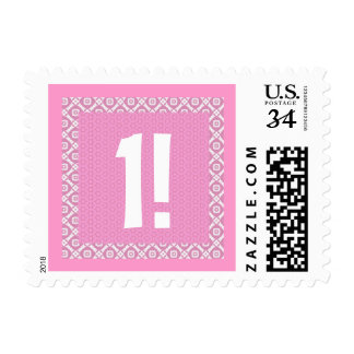 First Birthday Pink Pattern Birthday Postage