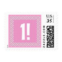 First Birthday Pink Pattern Birthday V003 Postage