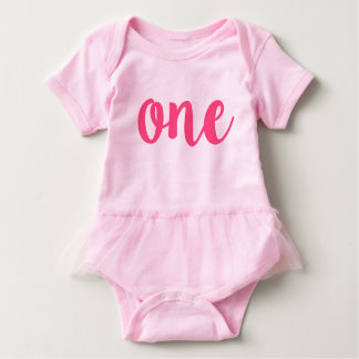 First Birthday Pink TUTU Outfit - ONE Year old! Baby Bodysuit