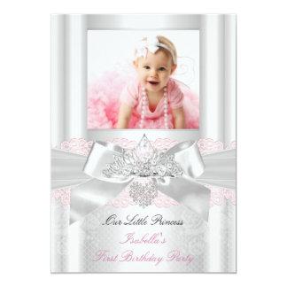 First Birthday Pink White Lace Diamond Tiara 2 5x7 Paper Invitation Card