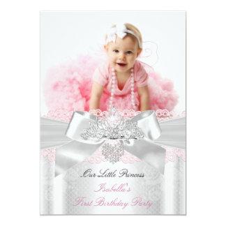 First Birthday Pink White Lace Diamond Tiara 5x7 Paper Invitation Card