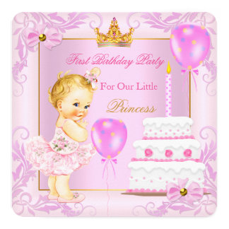 First Birthday Princess Tiara Girl Pink Blonde 5.25x5.25 Square Paper Invitation Card