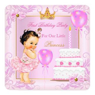 First Birthday Princess Tiara Girl Pink Brunette Invitation
