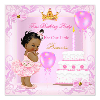 First Birthday Princess Tiara Girl Pink Ethnic Card