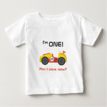 First Birthday, Race Car, Funny Text Baby T-Shirt