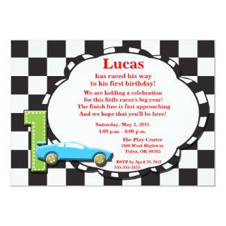 First Birthday Racecar Invitation, checkered Card