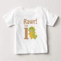 First Birthday, Rawr! I'm 1, Cute Dino Baby T-Shirt