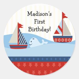 First Birthday Sailboat Sticker