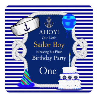 First Birthday Sailor Boy Navy Blue Stripe Card