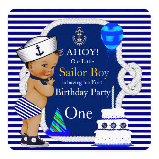 First Birthday Sailor Boy Navy Blue Stripe Card