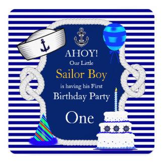 First Birthday Sailor Boy Navy Blue Stripe Invitation