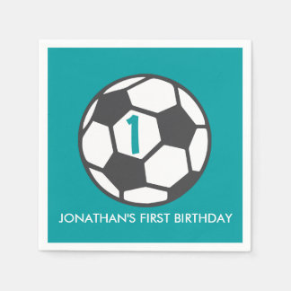 First Birthday Soccer Ball Party Napkins