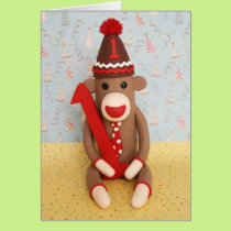 First Birthday Sock Monkey Celebration Card