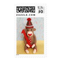 First Birthday Sock Monkey Celebration Postage