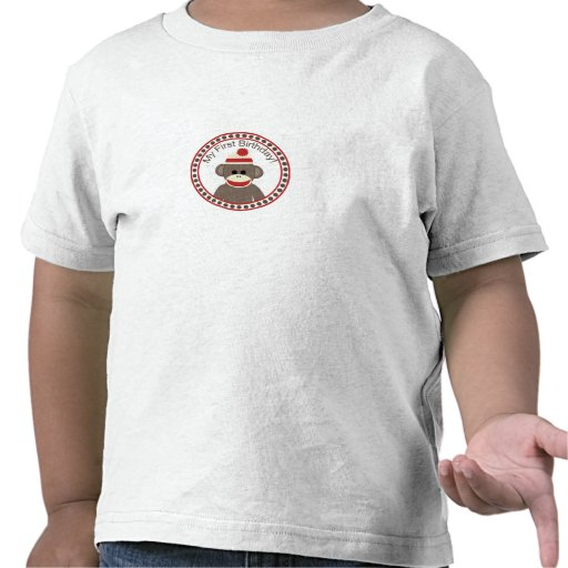 First Birthday sock monkey shirt