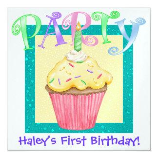 First Birthday ! - SRF 5.25x5.25 Square Paper Invitation Card