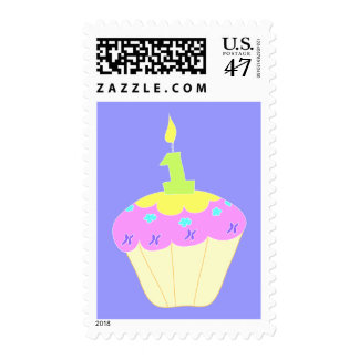 First Birthday Stamp with Pink and Purple Cupcake