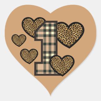 First Birthday TAN PLAID Number LEOPARD HeartsV05G Heart Sticker