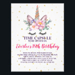 "First Birthday Time Capsule Sign | Unicorn Face<br><div class=""desc"">A sentimental touch for your baby&#39;s first birthday party; a time capsule that your guests can store notes in, to be read on her 18th birthday! It is important to remember this special day and one of the best ways to do that is with a time capsule. Remember and cherish...</div>"