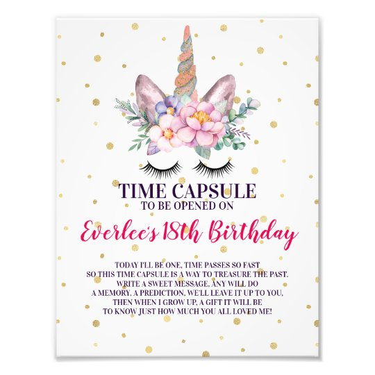 First Birthday Time Capsule Sign