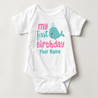 First Birthday Whale Girls Personalized Shirt