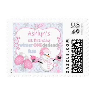 First Birthday Winter One-derland Snowman Cupcakes Postage