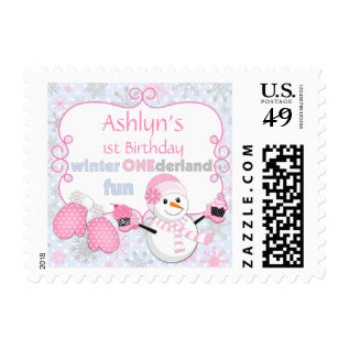 First Birthday Winter One-derland Snowman Cupcakes Postage at Zazzle