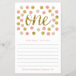 """First Birthday Wish Cards  Pink and Gold Glitter<br><div class=""""desc"""">Use the template form to add your personalization to the wish card. We suggest printing on &quot;value paper&quot; due to the ease of writing on the matte surface. Change the font using the Customize It button. Tie a pretty ribbon around the cards at the end of the event for a...</div>"""