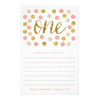First Birthday Wish Cards |Pink and Gold Glitter