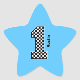 First Boy Birthday Checked Big Number A01 Star Sticker