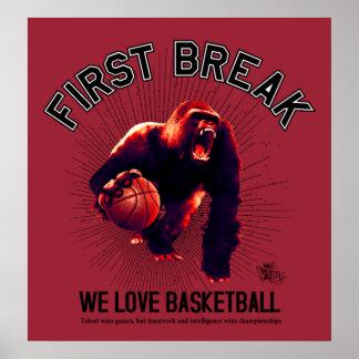First Break, Love Basketball, gorilla dribbling Poster