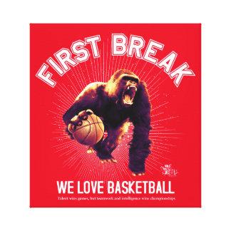 First Break, Love Basketball, gorilla (white ver.) Canvas Print