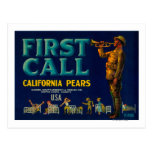 First Call Pear Crate LabelContra Costa, CA Post Cards