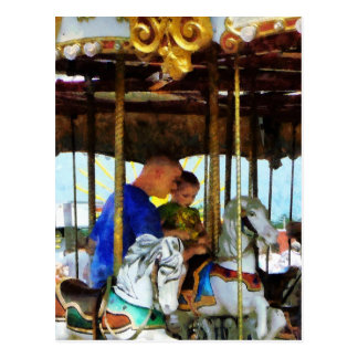 First Carousel Ride Postcard