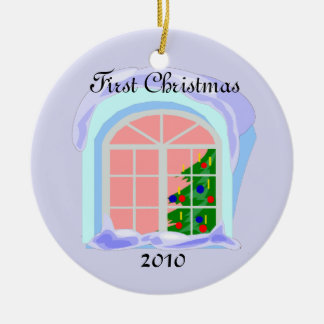 First Christmas 2010 Double-Sided Ceramic Round Christmas Ornament