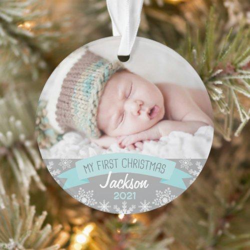 First Christmas Aqua Blue Baby Boy Photo Ornament